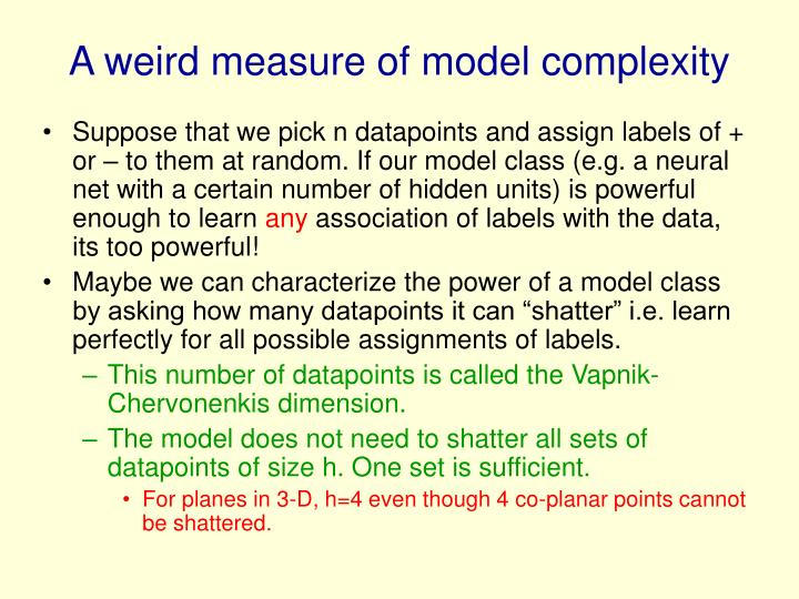 A weird measure of model complexity