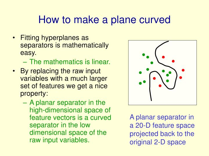 Fitting hyperplanes as separators is mathematically easy.