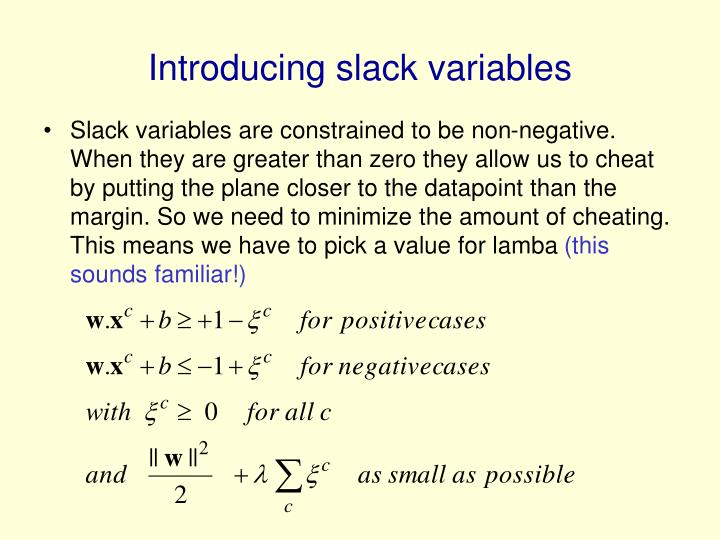 Introducing slack variables