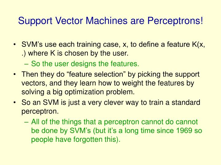 Support Vector Machines are Perceptrons!