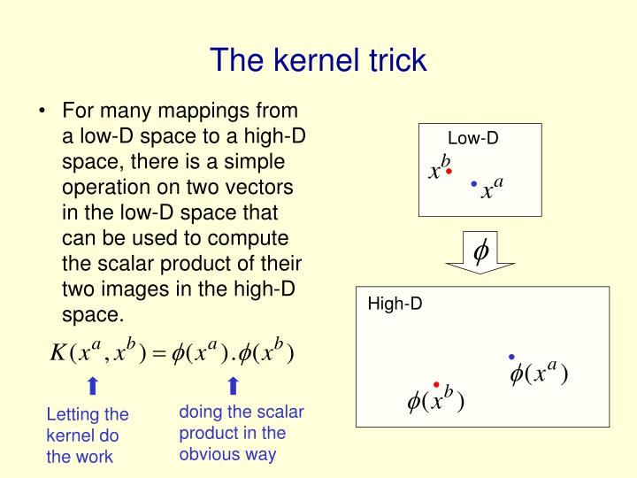 For many mappings from a low-D space to a high-D space, there is a simple operation on two vectors in the low-D space that can be used to compute the scalar product of their two images in the high-D space.