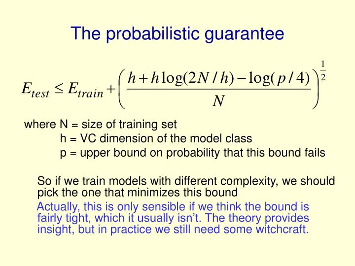 The probabilistic guarantee