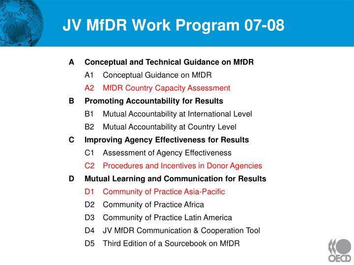 JV MfDR Work Program 07-08