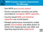 mfdr country capacity assessment the message