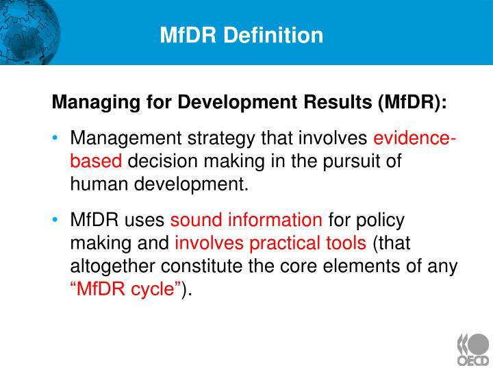 MfDR Definition