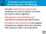 procedures and incentives in donor agencies the message