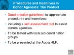 procedures and incentives in donor agencies the product