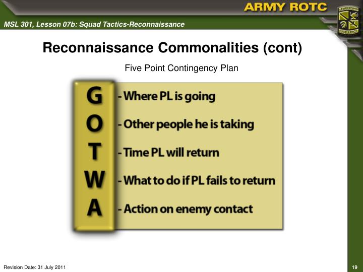 Reconnaissance Commonalities (cont)