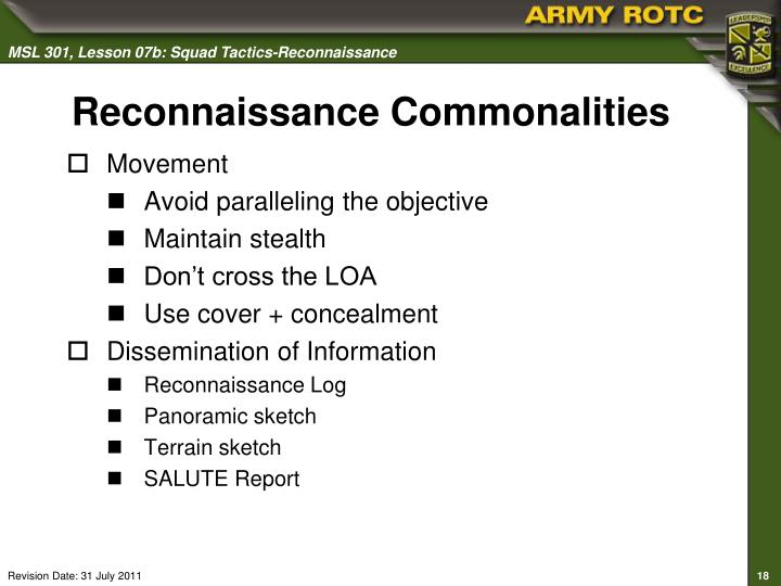 Reconnaissance Commonalities