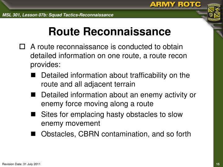 Route Reconnaissance