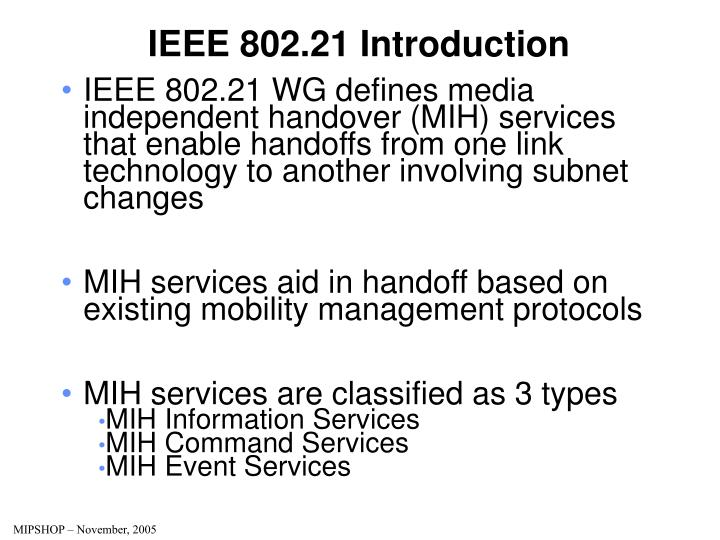 Ieee 802 21 introduction