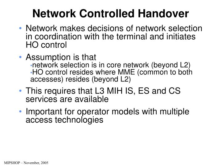 Network Controlled Handover