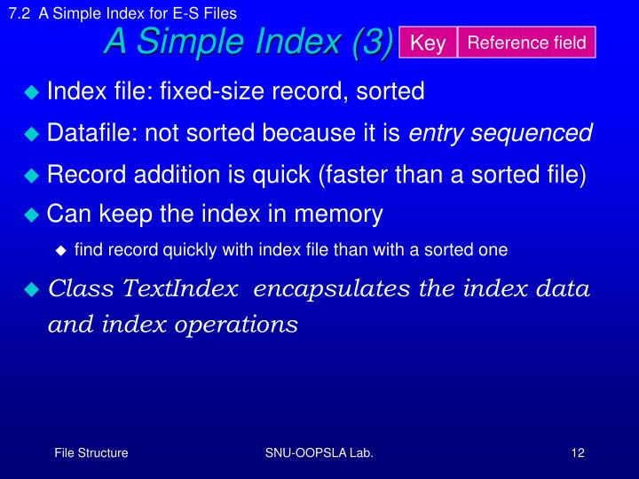 7.2  A Simple Index for E-S Files