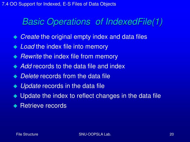 7.4 OO Support for Indexed, E-S Files of Data Objects