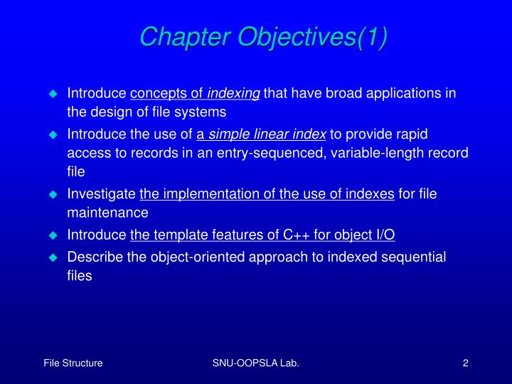 Chapter Objectives(1)