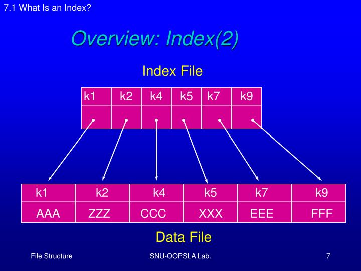 7.1 What Is an Index?