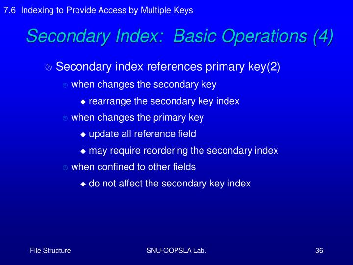 7.6  Indexing to Provide Access by Multiple Keys