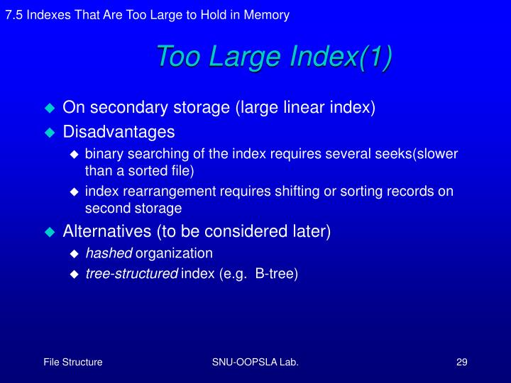 7.5 Indexes That Are Too Large to Hold in Memory