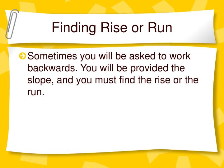 Finding Rise or Run