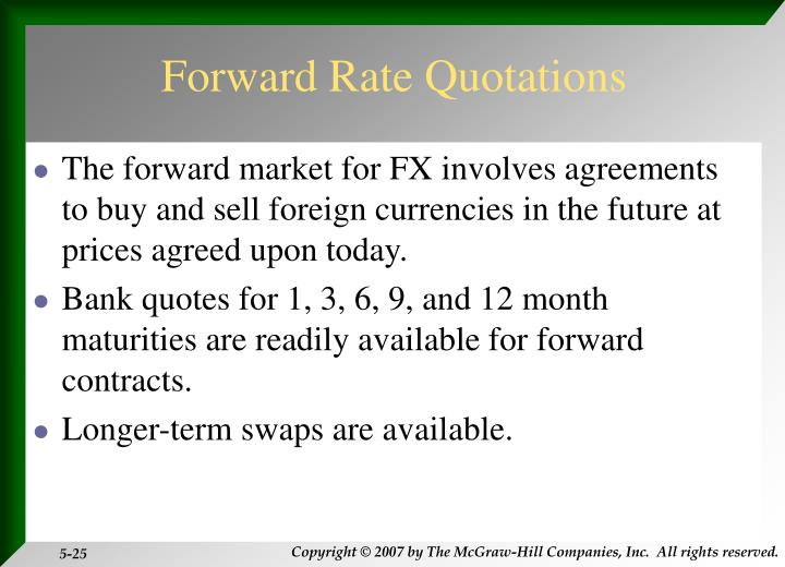 Forward Rate Quotations