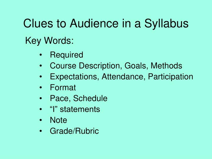 Clues to Audience in a Syllabus