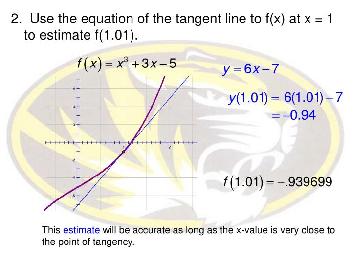 2.  Use the equation of the tangent line to f(x) at x = 1 to estimate f(1.01).