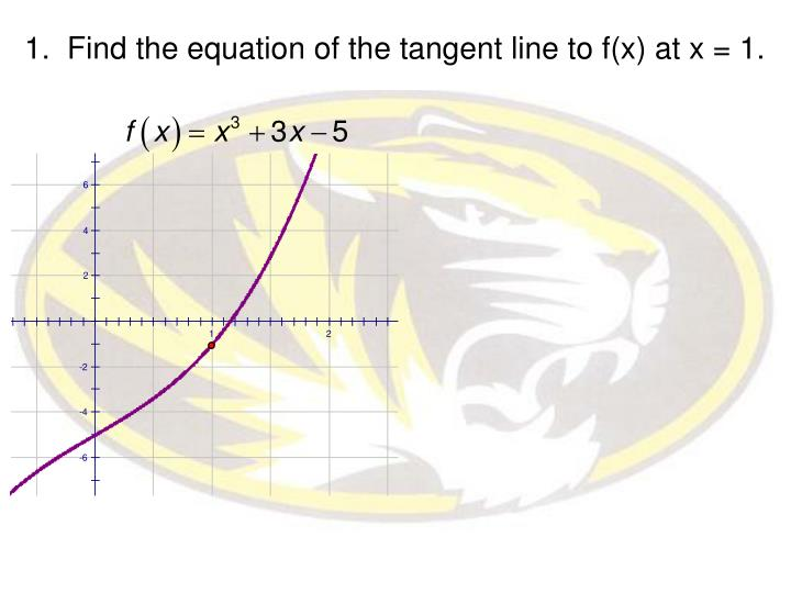 1.  Find the equation of the tangent line to f(x) at x = 1.