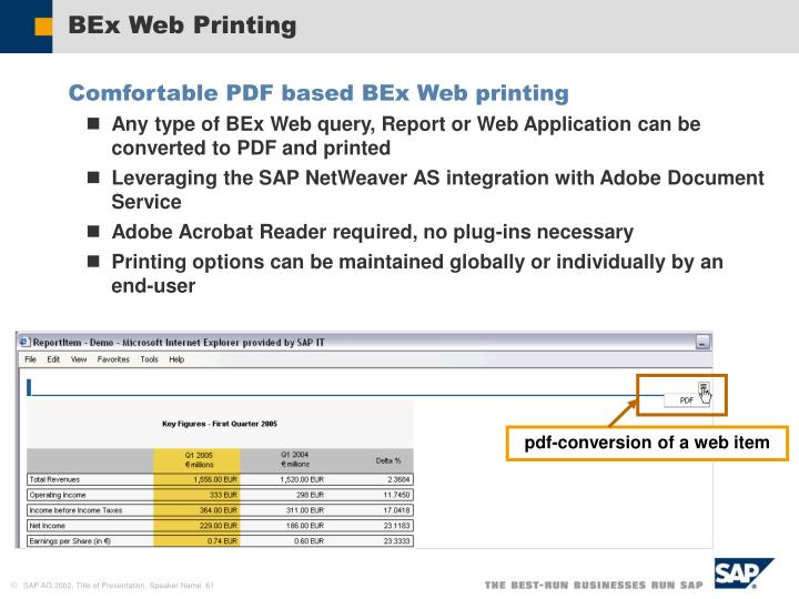 BEx Web Printing