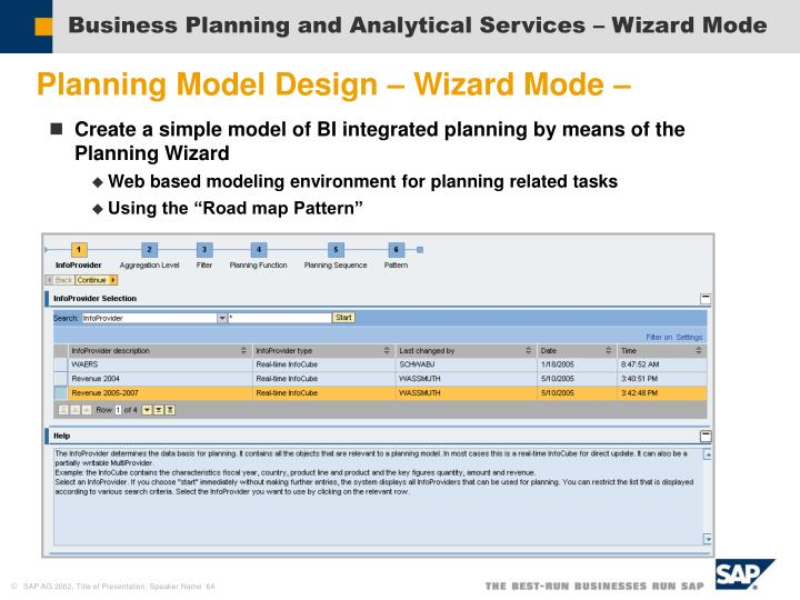 Business Planning and Analytical Services – Wizard Mode