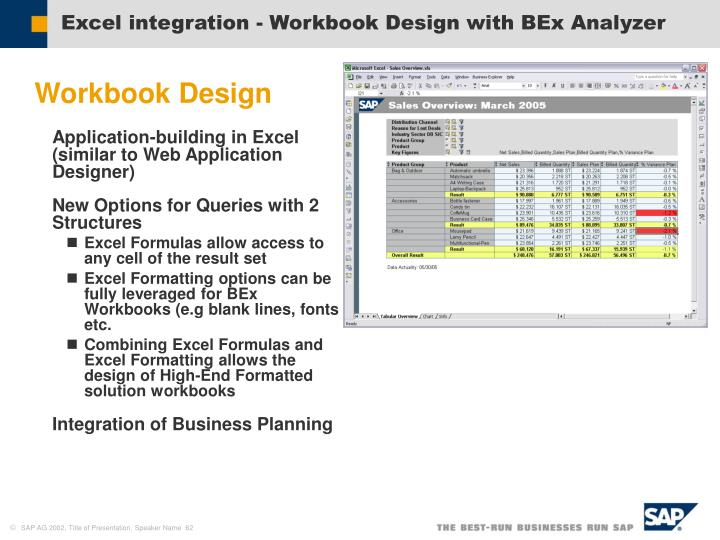 Excel integration - Workbook Design with BEx Analyzer