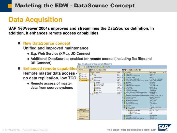 Modeling the EDW - DataSource Concept