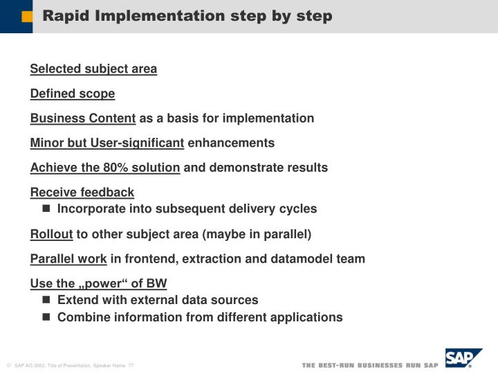 Rapid Implementation step by step