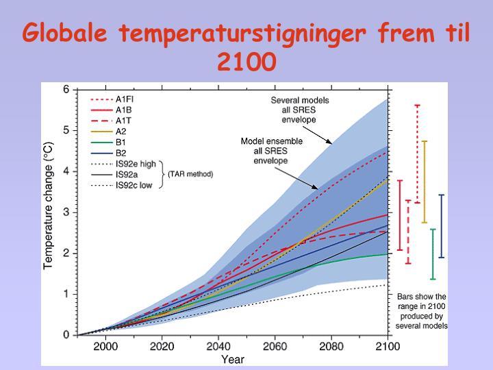 Globale temperaturstigninger frem til 2100