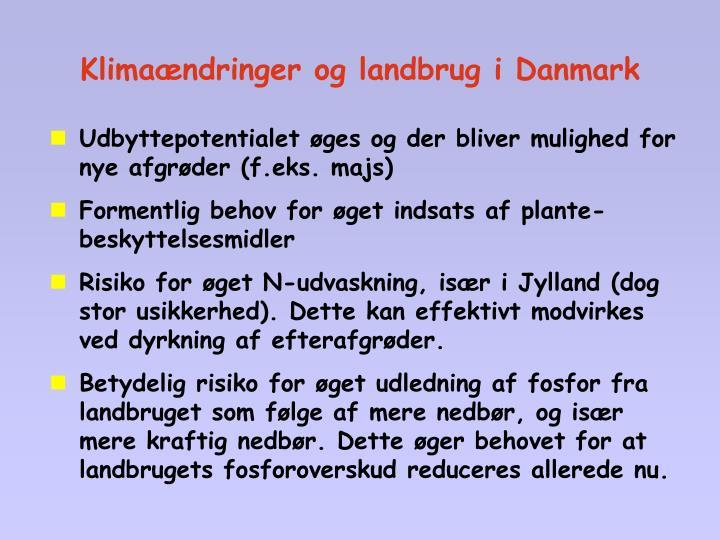 Klimaændringer og landbrug i Danmark