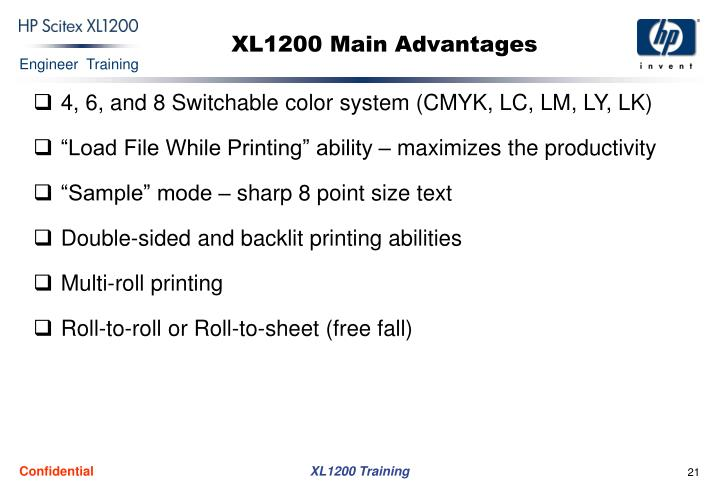 XL1200 Main Advantages