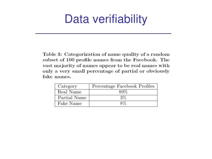 Data verifiability