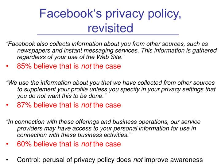 Facebook's privacy policy,