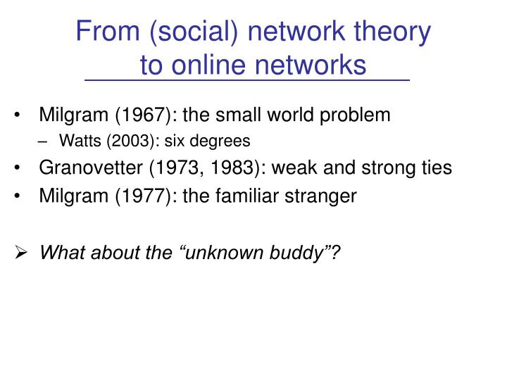 From (social) network theory