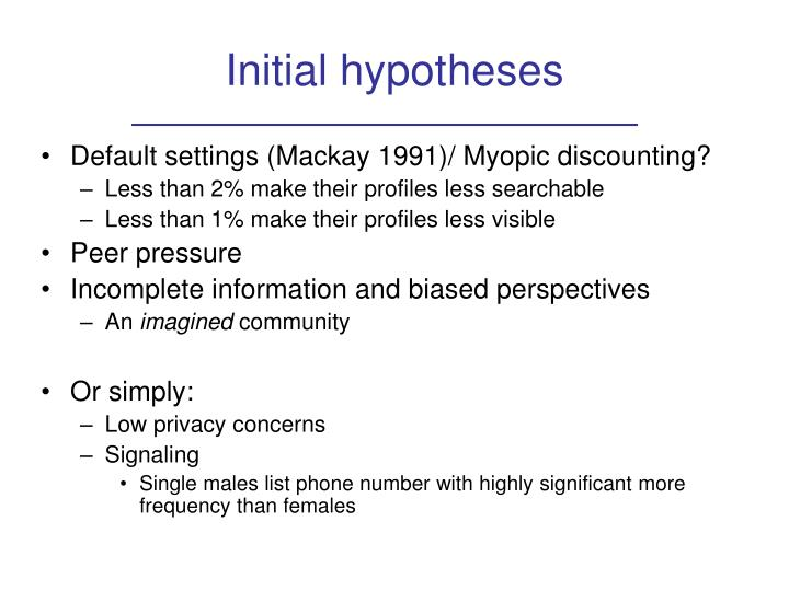 Initial hypotheses