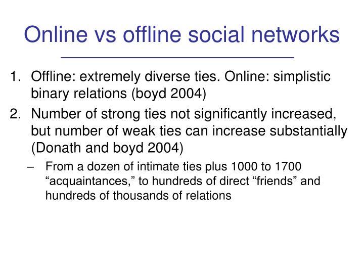 Online vs offline social networks