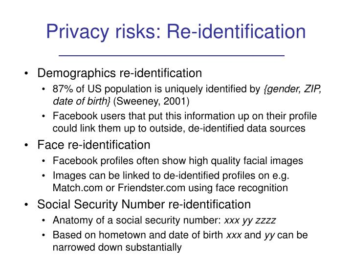 Privacy risks: Re-identification