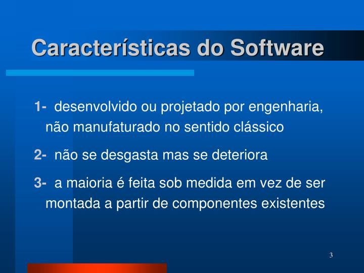 Caracter sticas do software