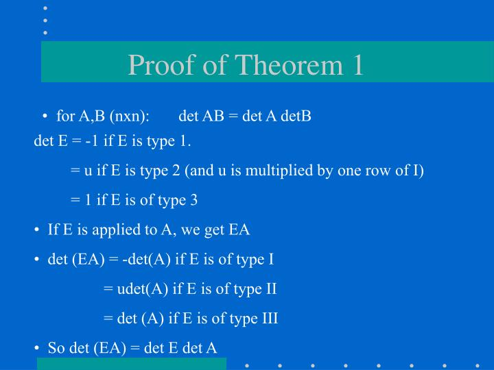 Proof of Theorem 1