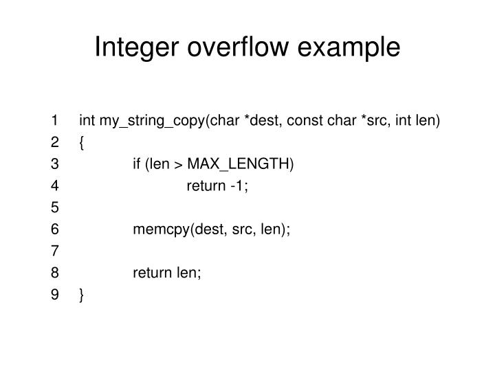 Integer overflow example