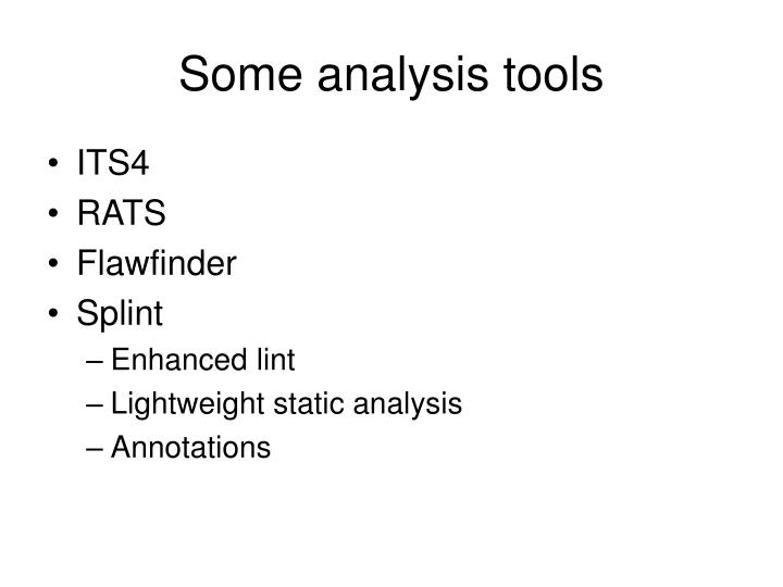Some analysis tools