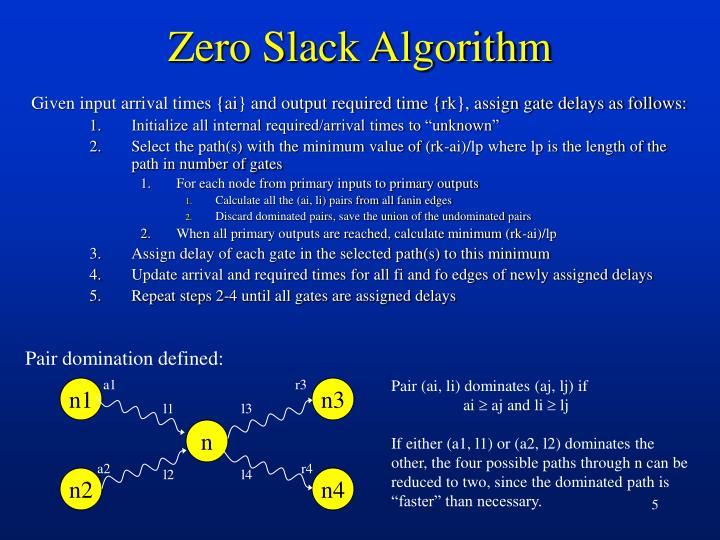 Zero Slack Algorithm