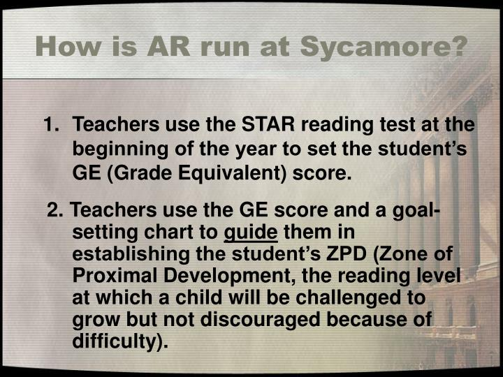 How is AR run at Sycamore?
