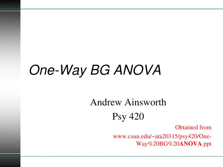 One way bg anova