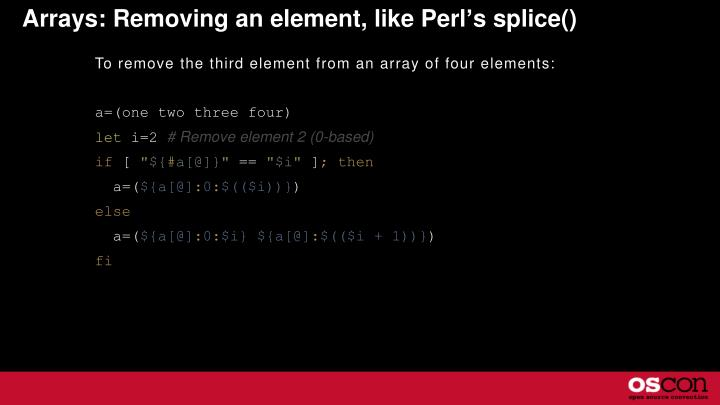 Arrays: Removing an element, like Perl