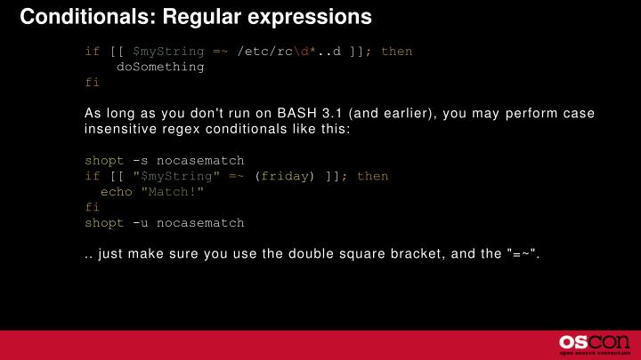Conditionals: Regular expressions